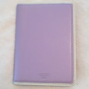 Coach leather photo album in lavender and white